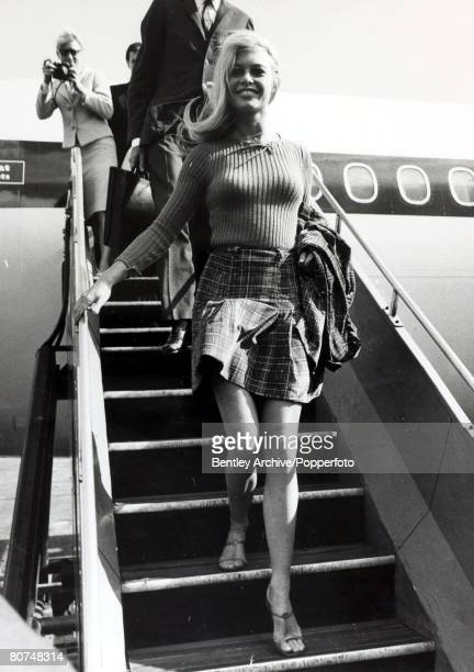 2nd September 1966 French actress Brigitte Bardot arrives a London Airport dressed in a miniskirt Brigitte Bardot first appeared on screen in 1952...