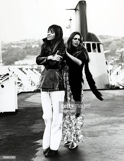 9th October 1972 French actress Brigitte Bardot pictured with Jane Birkin left during a film sequence on board a cross channel ferry to Dover for the...