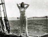 circa 1930's American actress Greta Garbo enjoying the ocean's breeze while on location She was born in Sweden and went to America in the 1920's and...