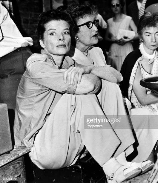 31st August 1954 American film actress Katharine Hepburn is pictured in Venice Italy with her dramatic coach Constance Collier sitting beside her at...