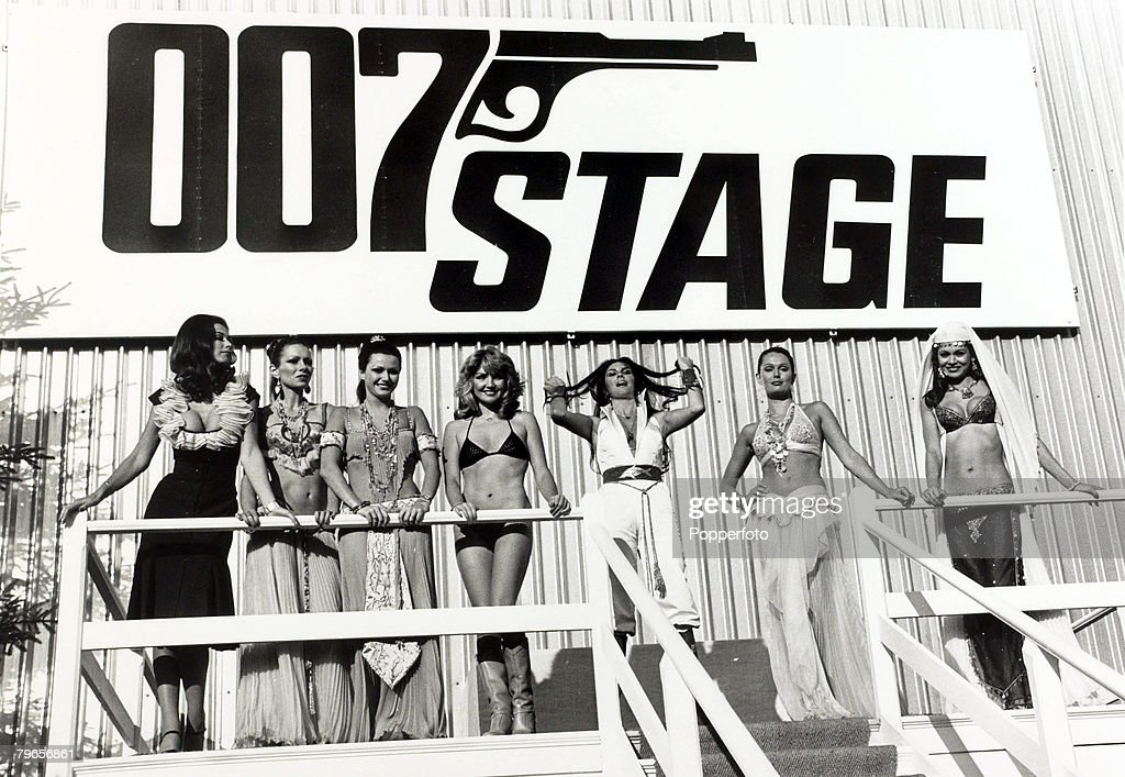 5th December 1976, Glamour girls on the Pinewood Studios set of the new James Bond film 'The Spy Who Loved Me'