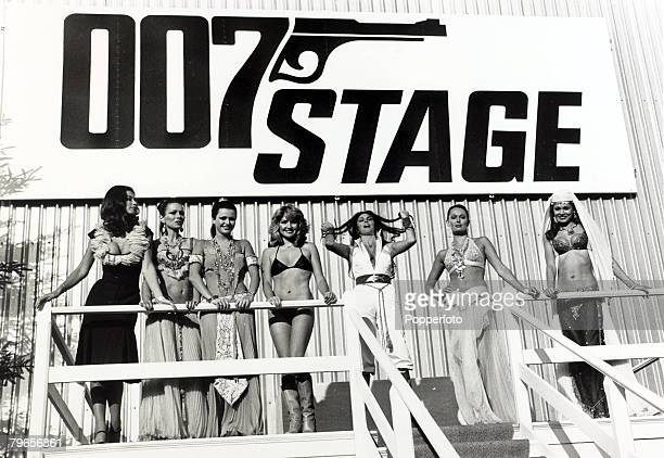 5th December 1976 Glamour girls on the Pinewood Studios set of the new James Bond film 'The Spy Who Loved Me'