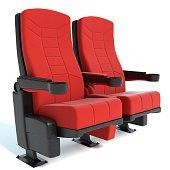 3d illustration of cinema seats