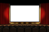 Cinema Stage with velvet curtains and spotlights. 16:9 wide screen canvas for Your content.