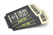 Two retro cinema tickets isolated on white background
