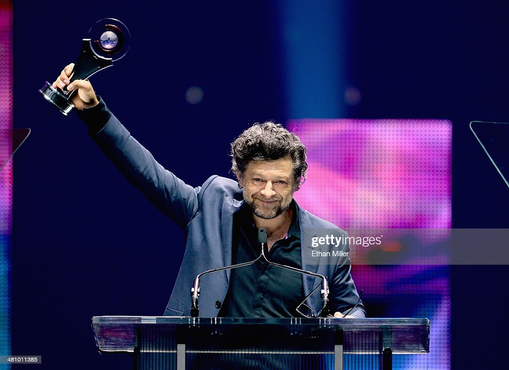 CinemaCon Vanguard Award winner <a gi-track='captionPersonalityLinkClicked' href=/galleries/search?phrase=Andy+Serkis&family=editorial&specificpeople=210893 ng-click='$event.stopPropagation()'>Andy Serkis</a> speaks onstage during The CinemaCon Big Screen Achievement Awards brought to you by The Coca-Cola Company during CinemaCon, the official convention of the National Association of Theatre Owners, at The Colosseum at Caesars Palace on March 27, 2014 in Las Vegas, Nevada.
