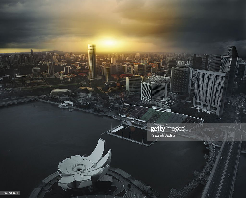 Cinematic Aerial View Of Singapore : Stock Photo