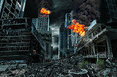 Detailed destruction of fictitious city with fires, explosions, debris and collapsing structures. Concept of war, natural disasters, judgment day, fire, nuclear accident or terrorism.