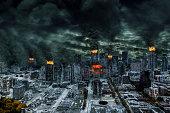 Detailed destruction of a fictitious city with fires, building explosion, sinkholes, split grounds, train derailment. Concept of war, natural disasters, judgement day, fire, nuclear accident, terroris