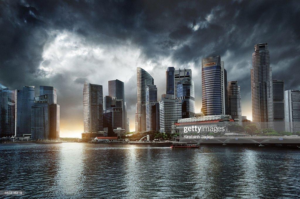 Cinematic Skyline Of Singapore