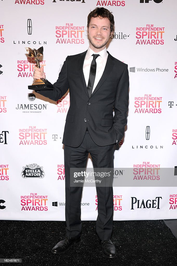 Cinematographer Ben Richardson poses with award for Beasts of the Southern Wild during the 2013 Film Independent Spirit Awards at Santa Monica Beach on February 23, 2013 in Santa Monica, California.