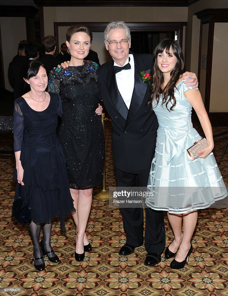 Cinematographer Caleb Deschanel poses with wife Mary Jo Deschanel and his daughters <a gi-track='captionPersonalityLinkClicked' href=/galleries/search?phrase=Emily+Deschanel&family=editorial&specificpeople=240264 ng-click='$event.stopPropagation()'>Emily Deschanel</a> (left) and <a gi-track='captionPersonalityLinkClicked' href=/galleries/search?phrase=Zooey+Deschanel&family=editorial&specificpeople=202927 ng-click='$event.stopPropagation()'>Zooey Deschanel</a>, actors at the 24th Annual American Society of Cinematographers 24th Annual Outstanding Achievement Awards held at the Hyatt Regency Century Plaza Hotel on February 27, 2010 in Los Angeles, California.