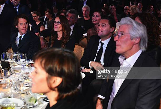 Cinematographer Daniel Moder actress Julia Roberts Leonardo DiCaprio Richard Gere Carey Lowell attend the 2nd Annual Sean Penn and Friends Help Haiti...