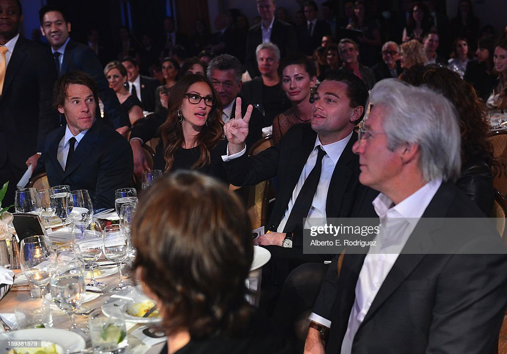 Cinematographer Daniel Moder, and actors Julia Roberts, Leonardo DiCaprio, and Richard Gere attend the 2nd Annual Sean Penn and Friends Help Haiti Home Gala benefiting J/P HRO presented by Giorgio Armani at Montage Hotel on January 12, 2013 in Los Angeles, California.