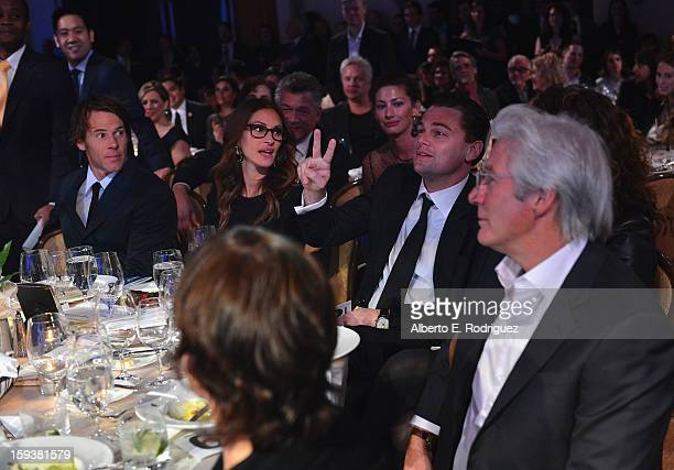 Cinematographer Daniel Moder and actors Julia Roberts Leonardo DiCaprio and Richard Gere attend the 2nd Annual Sean Penn and Friends Help Haiti Home...