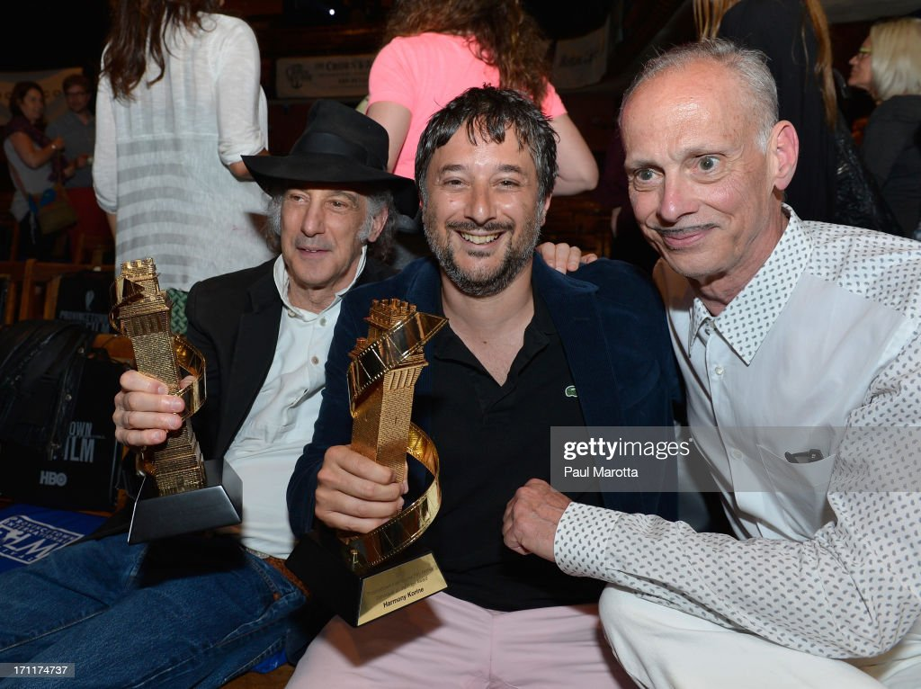 Cinematographer Ed Lachman receives the Faith Hubley Career Achievment Award and <a gi-track='captionPersonalityLinkClicked' href=/galleries/search?phrase=Harmony+Korine&family=editorial&specificpeople=2613576 ng-click='$event.stopPropagation()'>Harmony Korine</a> receives the Filmmaker on the Edge Award with <a gi-track='captionPersonalityLinkClicked' href=/galleries/search?phrase=John+Waters+-+Director&family=editorial&specificpeople=209202 ng-click='$event.stopPropagation()'>John Waters</a> from the Provincetown International Film Festival at the PIFF 15th Anniversary Celebration on June 22, 2013 in Provincetown, Massachusetts.