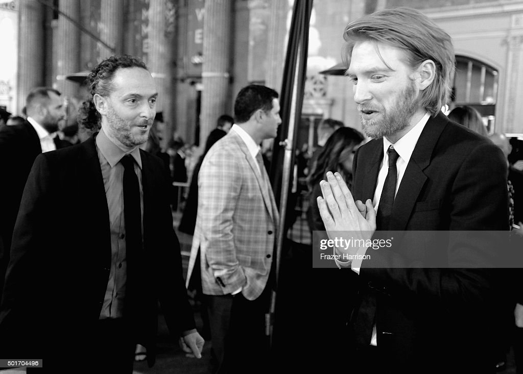.Cinematographer Emmanuel Lubezki, and actor Domhnall Gleeson arrives at the Premiere Of 20th Century Fox And Regency Enterprises' 'The Revenant' at TCL Chinese Theatre on December 16, 2015 in Hollywood, California.