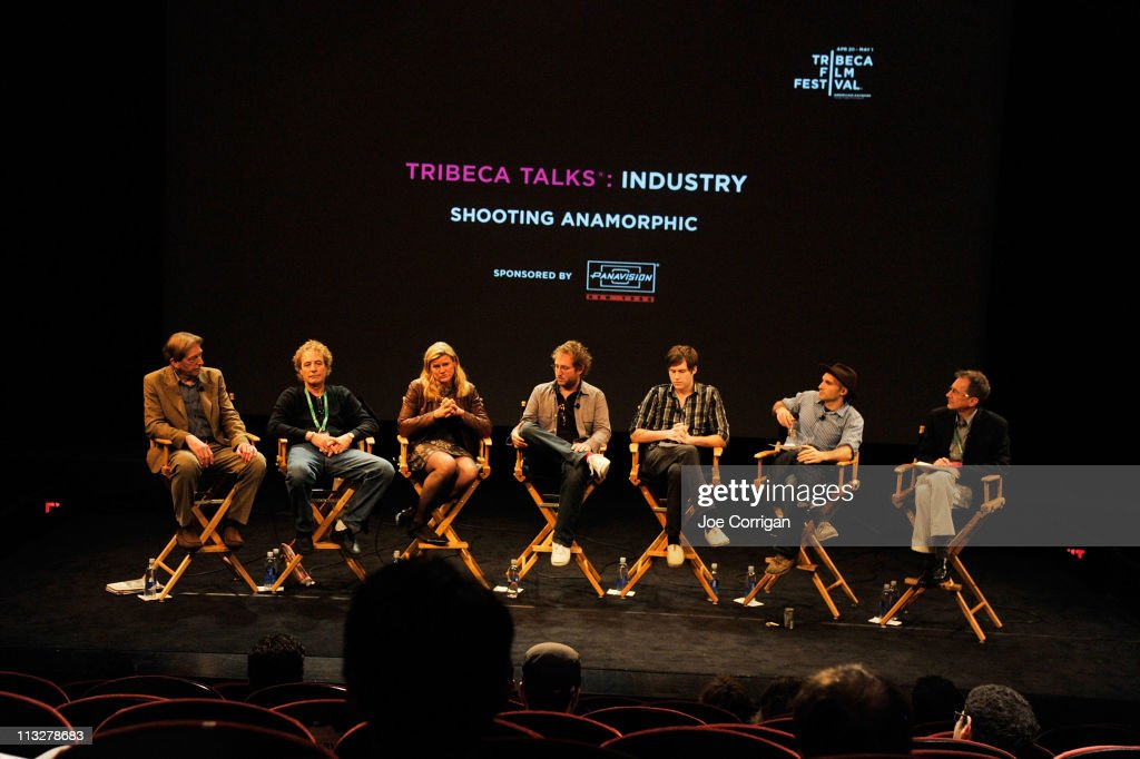 Cinematographer Frederick Elmes, director of photography Barry Markowitz, cinematographer <a gi-track='captionPersonalityLinkClicked' href=/galleries/search?phrase=Ellen+Kuras&family=editorial&specificpeople=243051 ng-click='$event.stopPropagation()'>Ellen Kuras</a>, director Jason Kohn, writer/director Shawn Christensen, cinematographer Dan Katz and moderator John Calhoun speak onstage at Tribeca Talks Industry: Shooting Anamorphic during the 2011 Tribeca Film Festival at SVA Theater on April 29, 2011 in New York City.
