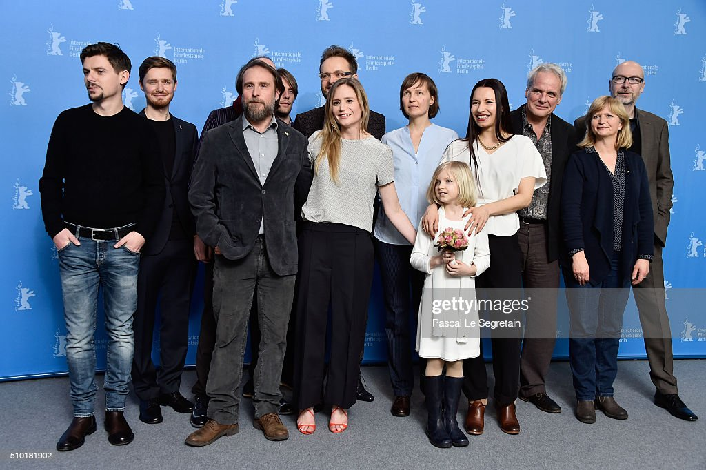 Cinematographer Friede Clausz, editor Denys Darahan, actor Bjarne Maedel, producer Tobias Buechner, actress <a gi-track='captionPersonalityLinkClicked' href=/galleries/search?phrase=Julia+Jentsch&family=editorial&specificpeople=217557 ng-click='$event.stopPropagation()'>Julia Jentsch</a>, producer Melanie Berke, actress Emilia Pieske, director Anne Zohra Berrached, producer Thomas Kufus and actress Johanna Gastdorf attend the '24 Wochen' photo call during the 66th Berlinale International Film Festival Berlin at Grand Hyatt Hotel on February 14, 2016 in Berlin, Germany.