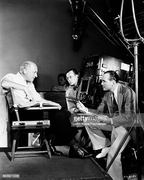 Cinematographer George Barnes and filmmaker Cecil B DeMille on the set of the film 'Samson and Delilah' for Paramount Pictures 1949