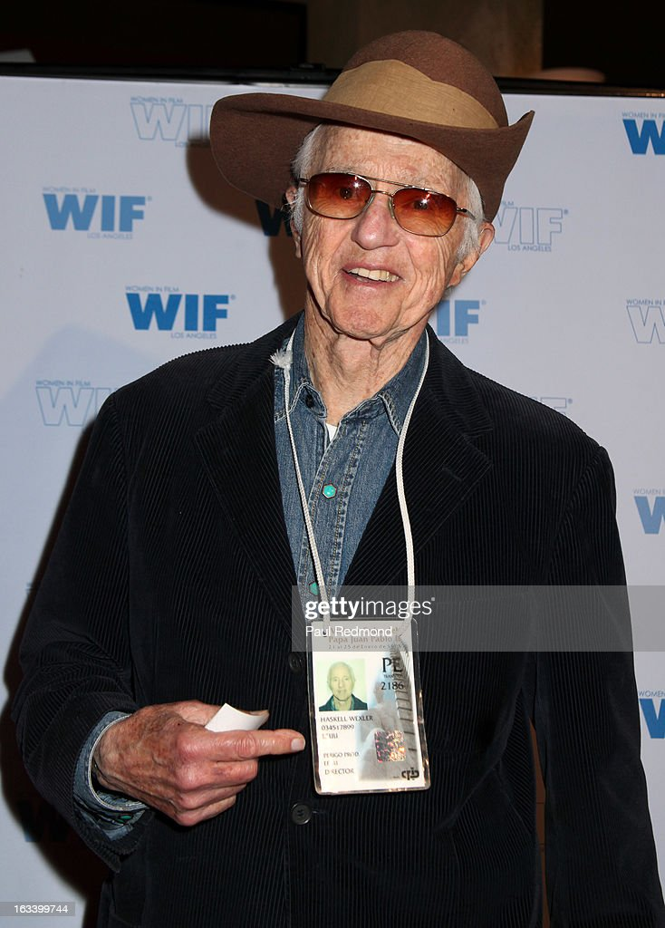 Cinematographer <a gi-track='captionPersonalityLinkClicked' href=/galleries/search?phrase=Haskell+Wexler&family=editorial&specificpeople=700405 ng-click='$event.stopPropagation()'>Haskell Wexler</a> attends American Cinematheque hosts Cuban Women Filmmakers US Showcase at American Cinematheque's Egyptian Theatre on March 8, 2013 in Hollywood, California.