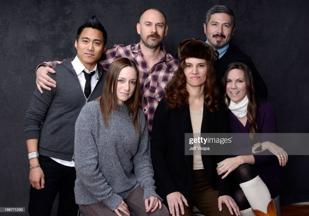 Cinematographer PJ Raval, producer Matt Johnstone, editor Augie Robles (Bottom L-R) actress Heather Sultz, filmmaker Rachel Mayeri, and actress Dawn Meyer pose for a portrait during the 2013 Sundance Film Festival at the WireImage Portrait Studio at Village At The Lift on January 20, 2013 in Park City, Utah.