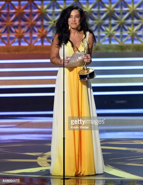 Cinematographer Reed Morano accepts the Outstanding Directing for a Drama Series for 'The Handmaid's Tale' onstage during the 69th Annual Primetime...