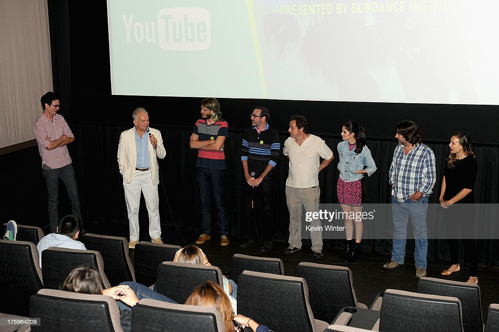 Cinematographer Sean McElwee, Actor Paul Eenhoorn, Sundance Film Festival Programmer Charlie Reff, Director Chad Hartigan and actors Richmond Arquette, Sam Buchanan, Robert Longstreet and guest speak onstage at 'This Is Martin Bonner' premiere during NEXT WEEKEND, presented by Sundance Institute at Sundance Sunset Cinema on August 10, 2013 in Los Angeles, California.