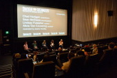 Cinematographer Sean McElwee director Chad Hartigan actress Lindsay Pulsipher producer Alicia Van Couvering and moderator Jessica Hundley speak at...