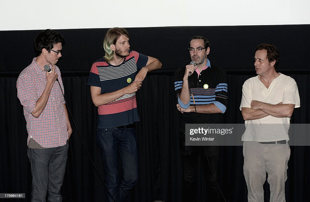 Cinematographer Sean McElwee, Sundance Film Festival Programmer Charlie Reff, director Chad Hartigan and actor Richmond Arquette speak onstage at 'This Is Martin Bonner' premiere during NEXT WEEKEND, presented by Sundance Institute at Sundance Sunset Cinema on August 10, 2013 in Los Angeles, California.