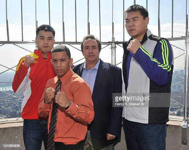 Cinese Super Middleweight Boxer Zhang Jianting American Light Bantamweight Boxer Miguel Cartagena boxing promoter Dino Duva and Chinese Super...