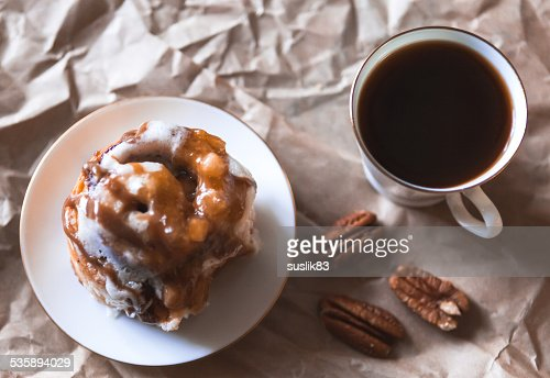 cinnamon cake with coffee : Stock Photo