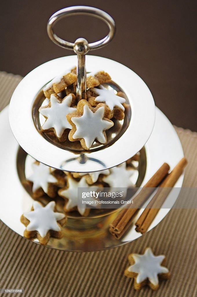 Cinnamon stars on dessert stand