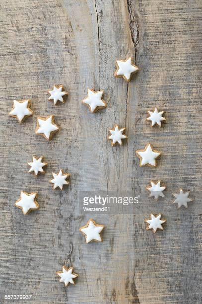 Cinnamon stars on grey wood