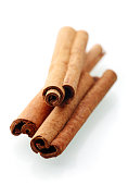 Cinnamon stick spices isolated on white