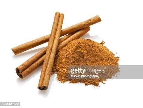 Cinnamon sticks and Powder, White Background