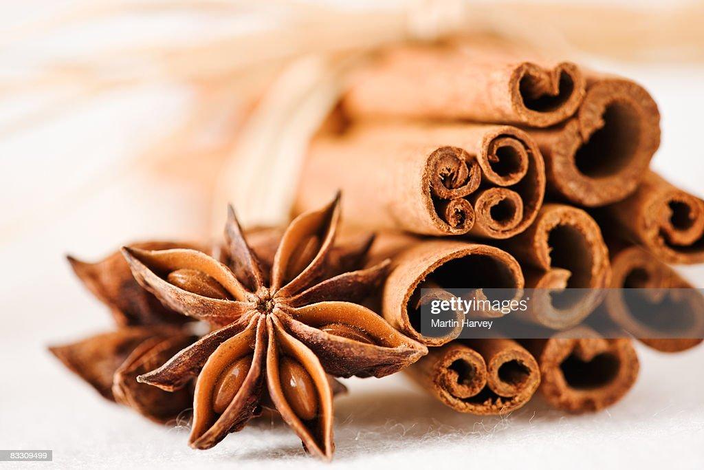 Cinnamon sticks with star anise. : Stock Photo