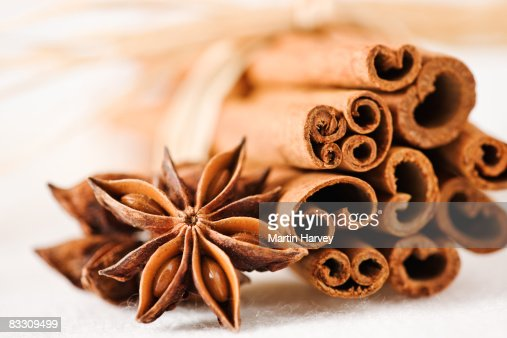 Cinnamon sticks with star anise. : Stock Photo