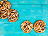 Selection of Cinnamon Swirls Danish Breakfast Pastries