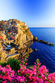 Manarola village at sunset. Cinque Terre National Park, Liguria Italy.