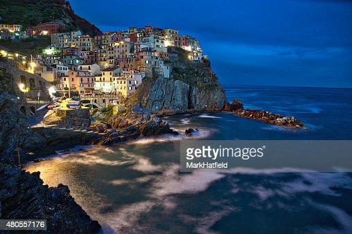 Cinque Terre Italy Town of Manarola at Night : Stock Photo