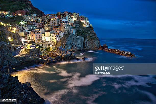 Cinque Terre Italy Town of Manarola at Night