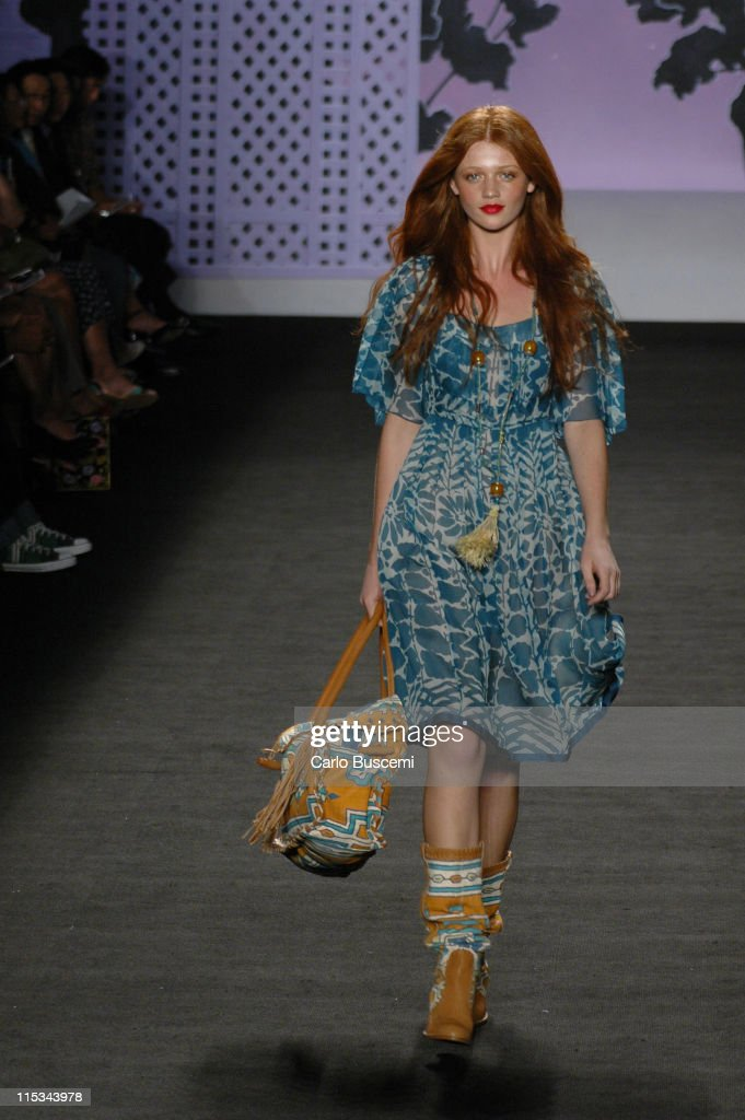 Cintia Dicker wearing Anna Sui Spring 2006 during Olympus Fashion Week Spring 2006 Anna Sui Runway at Bryant Park in New York City New York United...
