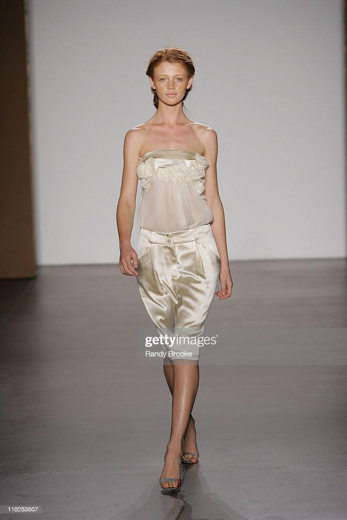 Cintia Dicker wearing Doori Spring 2006 during Olympus Fashion Week Spring 2006 Doori Runway at Bryant Park in New York City New York United States