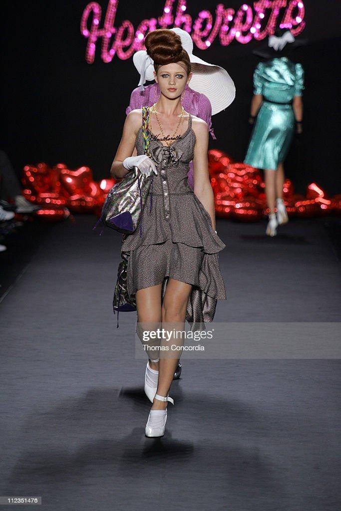Cintia Dicker wearing Heatherette Spring 2006 during Olympus Fashion Week Spring 2006 Heatherette Runway at Bryant Park in New York City New York...