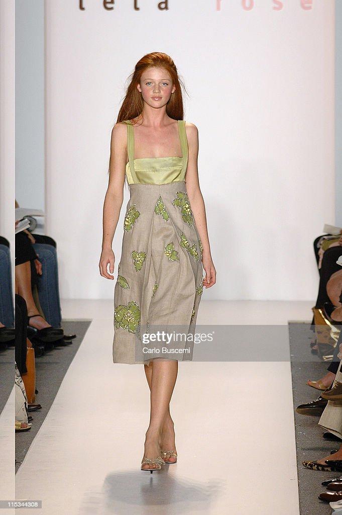Cintia Dicker wearing Lela Rose Spring 2006 during Olympus Fashion Week Spring 2006 Lela Rose Runway at Bryant Park in New York City New York United...