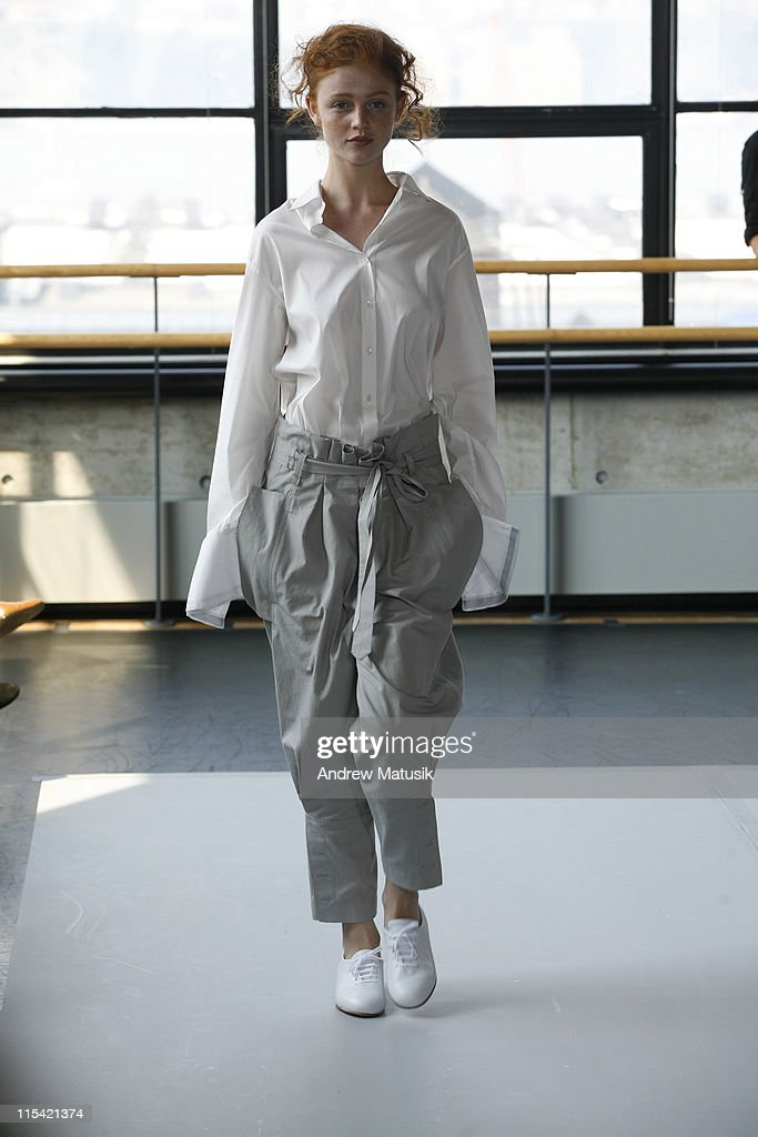 Cintia Dicker wearing Naum Spring 2007 during Olympus Fashion Week Spring 2007 Naum Runway at Baryshnikov Arts Center in New York City New York...