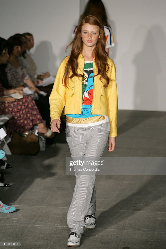 Cintia Dicker wearing United Bamboo Spring 2006 during Olympus Fashion Week Spring 2006 United Bamboo Runway at 475 Tenth Avenue in New York City New...