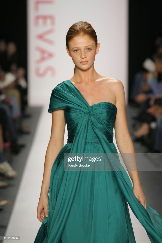 Cintia Dicker wearing Vlassis Holevas Spring 2007 during Olympus Fashion Week Spring 2007 Vlassis Holevas Runway at The Atelier Bryant Park in New...