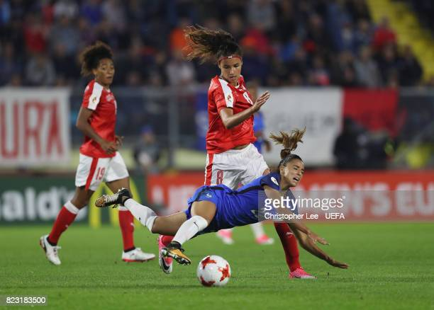 Cinzia Zehnder of Switzerland battles with Sakina Karchaoui of France during the UEFA Women's Euro 2017 Group C match between Switzerland and France...